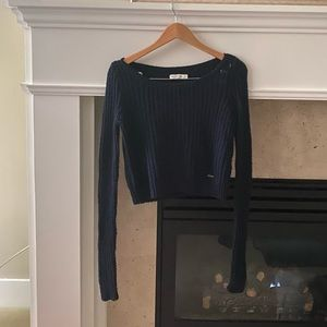 Abercrombie and Fitch Navy Cropped Sweater
